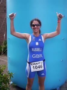 Comrade Russell, having won the 2012 European Sprint Duathlon Championships in Holland!