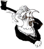 """Mad Axe Woman Margaret Thatcher"" (cartoon by Alan Hardman)"