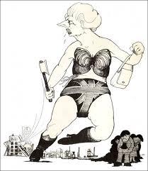 """Tory Prime Minister Margaret Thatcher"" (cartoon by Alan Hardman)"