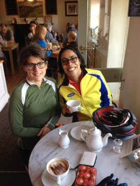 Amazon woman and I on a tea break during the Grindleford Goat 2013.