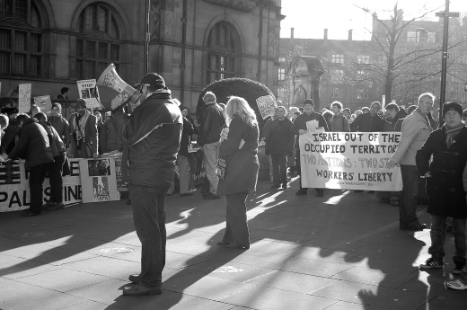 The demonstration was organised by the Sheffield Palestine Solidarity Campaign.