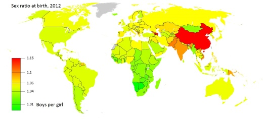 2012 Birth Sex Ratio World Map. Source: World DataBank, Gender Statistics, The World Bank and United Nations (Wikimedia Commons)