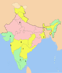 Map showing the safety for women, based on the Female Safety Index (FSI) in the Well Being Index India Report 2013 by Tata Strategic Management Group (Wikimedia Commons)