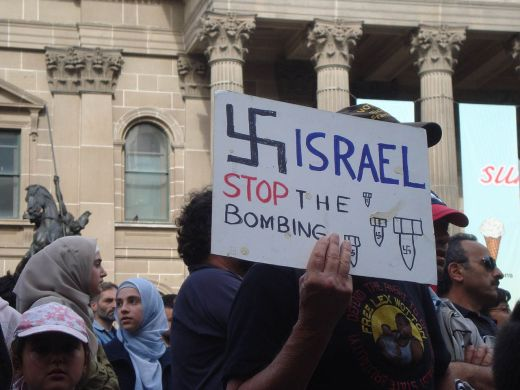Home-made placard from Melbourne protest about Israel's attack on Gaza, December 30th 2008 (Wikimedia Commons)